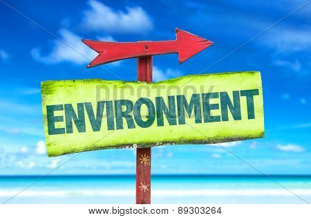 Environment sign with beach background