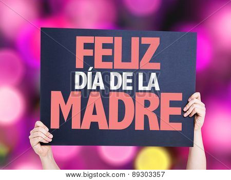 Happy Mothers Day (in Spanish) card with pink bokeh background