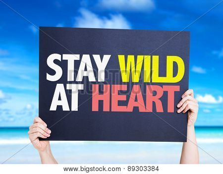 Stay Wild At Heart card with beach background