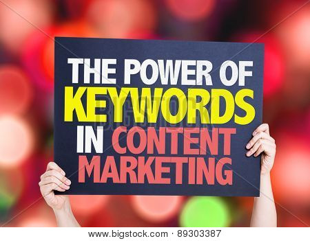 The Power of Keywords in Content Marketing card with bokeh background