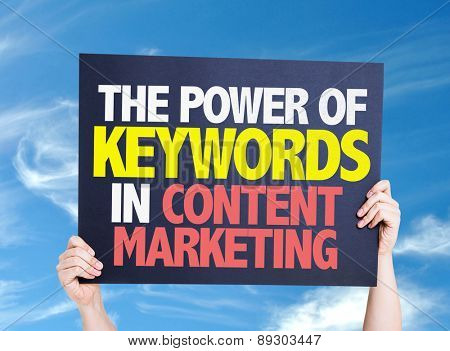 The Power of Keywords in Content Marketing card with sky background