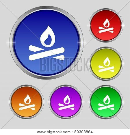 Fire Flame Icon Sign. Round Symbol On Bright Colourful Buttons. Vector