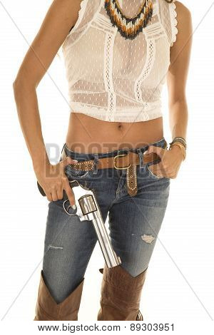 Cowgirl In White Top With Revolver Body