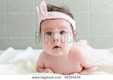 Portrait Of Beautiful Sweet Newborn Baby Girl