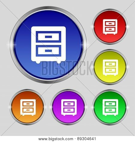 Nightstand Icon Sign. Round Symbol On Bright Colourful Buttons. Vector