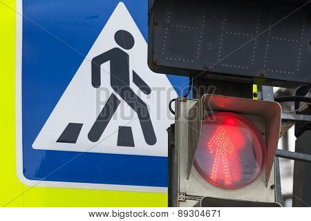 Pedestrian Crossing Road Sign And Traffic Lights