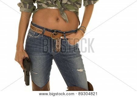 Woman Camo Shirt Belly Showing Gun Body Close