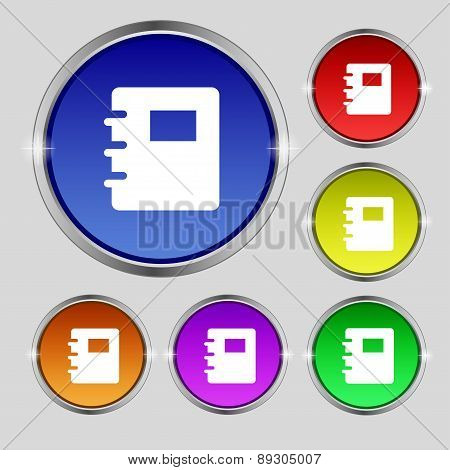 Book Icon Sign. Round Symbol On Bright Colourful Buttons. Vector