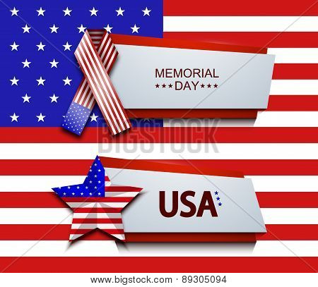 Vector modern memorial day banners