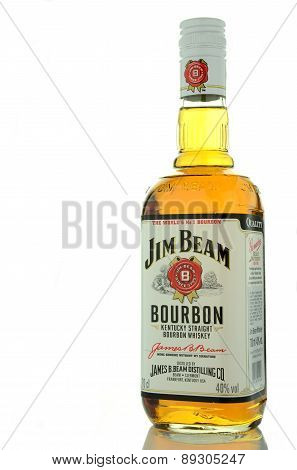Jim Beam bourbon whiskey isolated on white background.