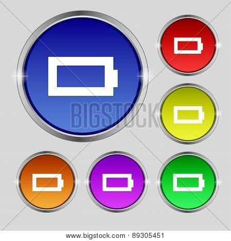 Battery Empty Icon Sign. Round Symbol On Bright Colourful Buttons. Vector