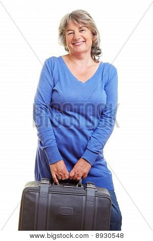 Pensioner With Gray Suitcase