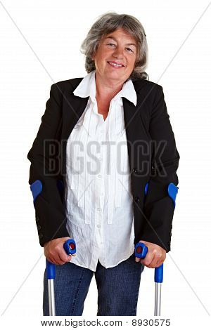Disabled Woman With Crutches