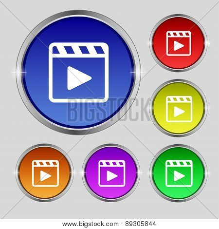 Play Video Icon Sign. Round Symbol On Bright Colourful Buttons. Vector