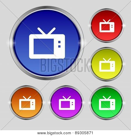 Retro Tv Mode Icon Sign. Round Symbol On Bright Colourful Buttons. Vector