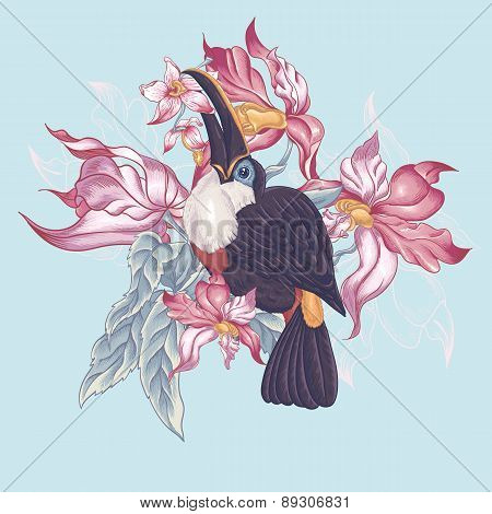 Floral Vector Vintage Card with Exotic Flowers and Toucan.