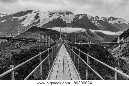 Long Suspension Bridge In The Mount Cook Nationalpark On The Southern Island Of New Zealand