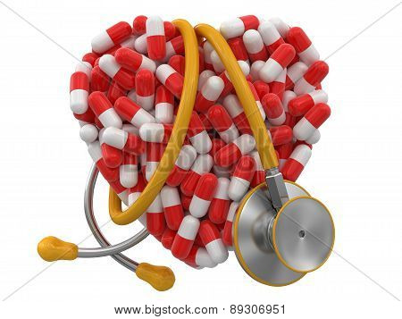Heart from Pills and stethoscope (clipping path included)