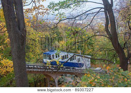Railway Funicular Is An Autumn Kiev, Ukraine