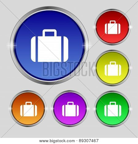 Suitcase Icon Sign. Round Symbol On Bright Colourful Buttons. Vector