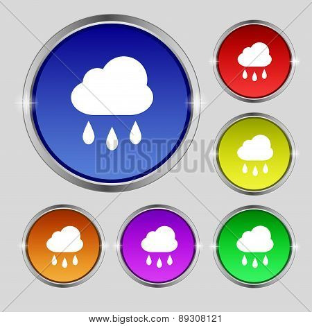 Weather Rain Icon Sign. Round Symbol On Bright Colourful Buttons. Vector