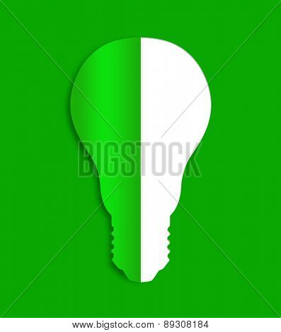 Eco bulb energy icon from paper. Green energy concept.
