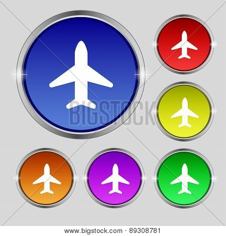 Airplane, Plane, Travel, Flight Icon Sign. Round Symbol On Bright Colourful Buttons. Vector