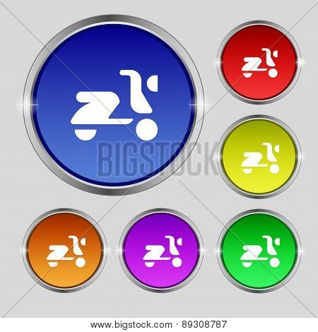 Scooter, Bike Icon Sign. Round Symbol On Bright Colourful Buttons. Vector