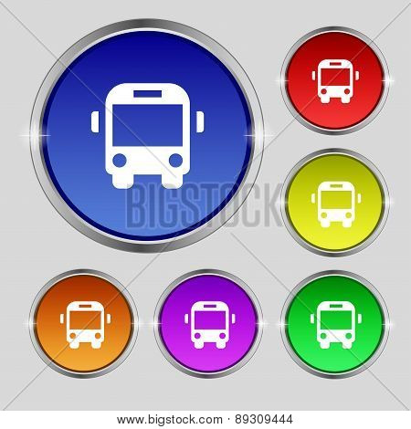 Bus Icon Sign. Round Symbol On Bright Colourful Buttons. Vector