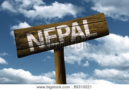 Nepal wooden sign on a beautiful day