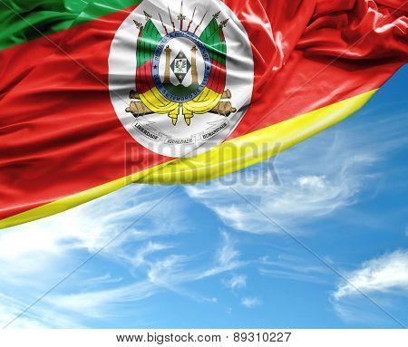 Rio Grande do Sul, Brazil waving flag on a beautiful day