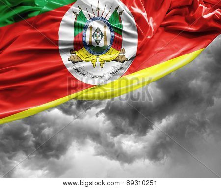 Rio Grande do Sul, Brazil waving flag on a bad day