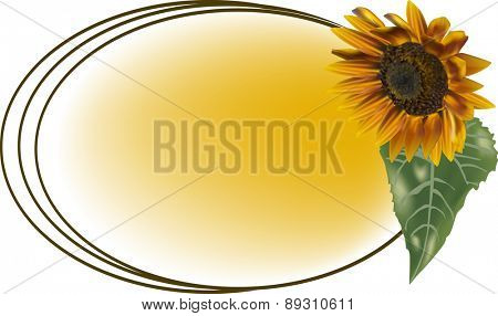 illustration with yellow sunflower in oval frame