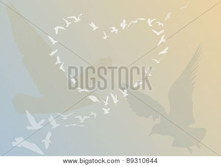 illustration with heart from gull silhouettes on light background