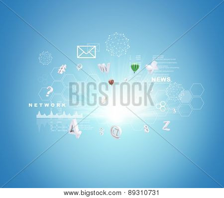Abstract blue background with numbers and icons