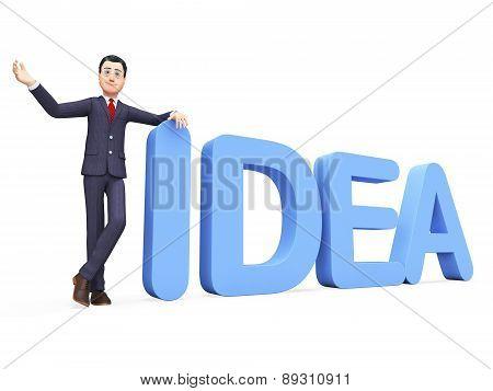 Businessman Presenting Idea Indicates Ideas Corporate And Businessmen