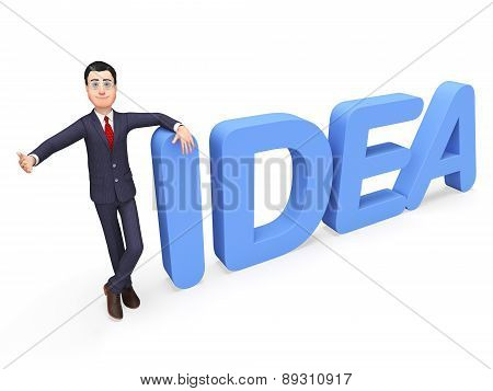 Businessman Presenting Idea Indicates Commerce Concepts And Inventions