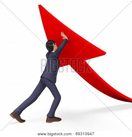 Businessman Pushing Arrow-up Means Pushed Carry And Successful