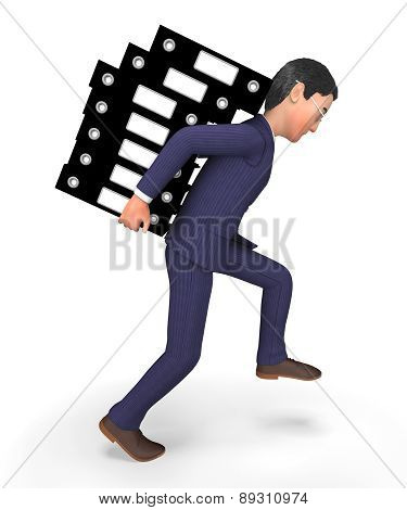 Businessman Carrying Files Represents Administration Folders And Answer