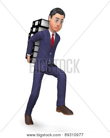 Businessman Carrying Files Represents Advisor Commercial And Correspondence