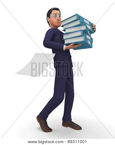 Businessman With Files Shows Executive Commerce And Assistance