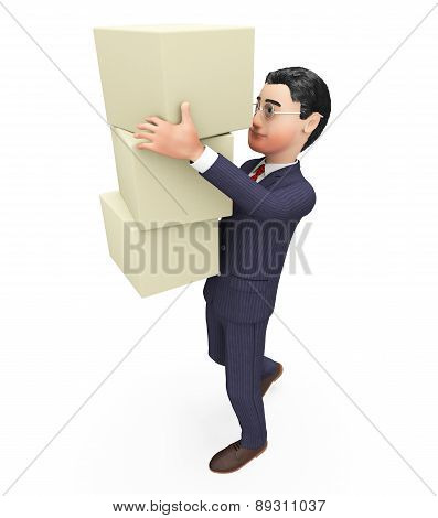 Businessman Carrying Boxes Means Commerce Case And Container