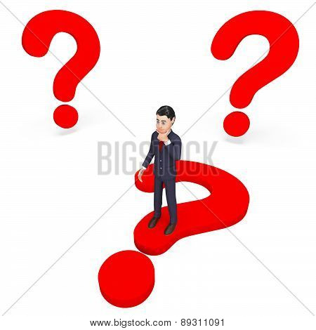 Businessman Thinking Indicates Frequently Asked Questions And About