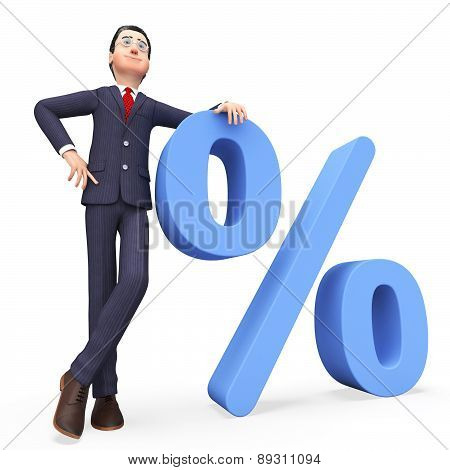 Businessman With Percent Means Company Discount And Professional