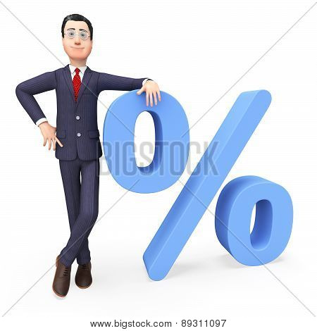 Businessman With Percent Indicates Company Trade And Merchandise