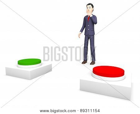 Businessman With Options Shows Biz Selection And Businessmen