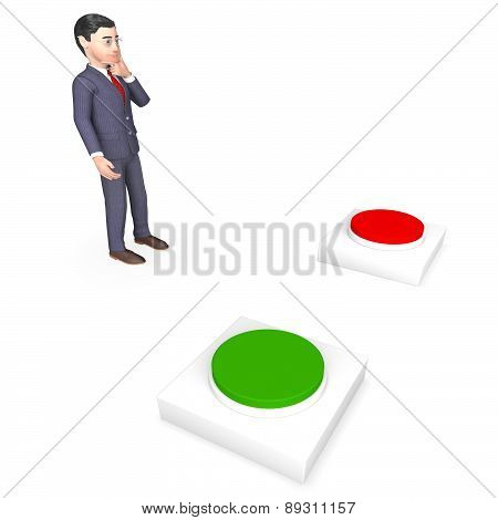 Businessman With Buttons Represents Choice Tailor And Route