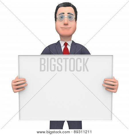 Businessman Holding Signboard Shows Text Space And Blank