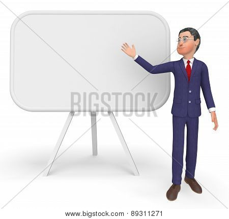 Businessman Presenting Means Blank Space And Board
