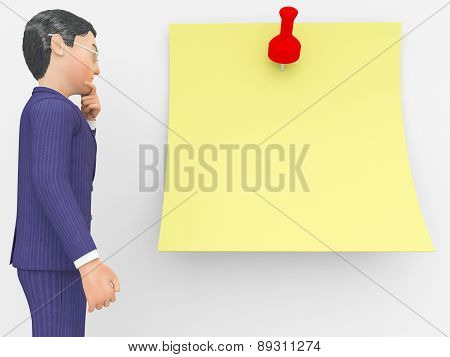 Businessman Thinking Indicates Reflect Corporation And Concept